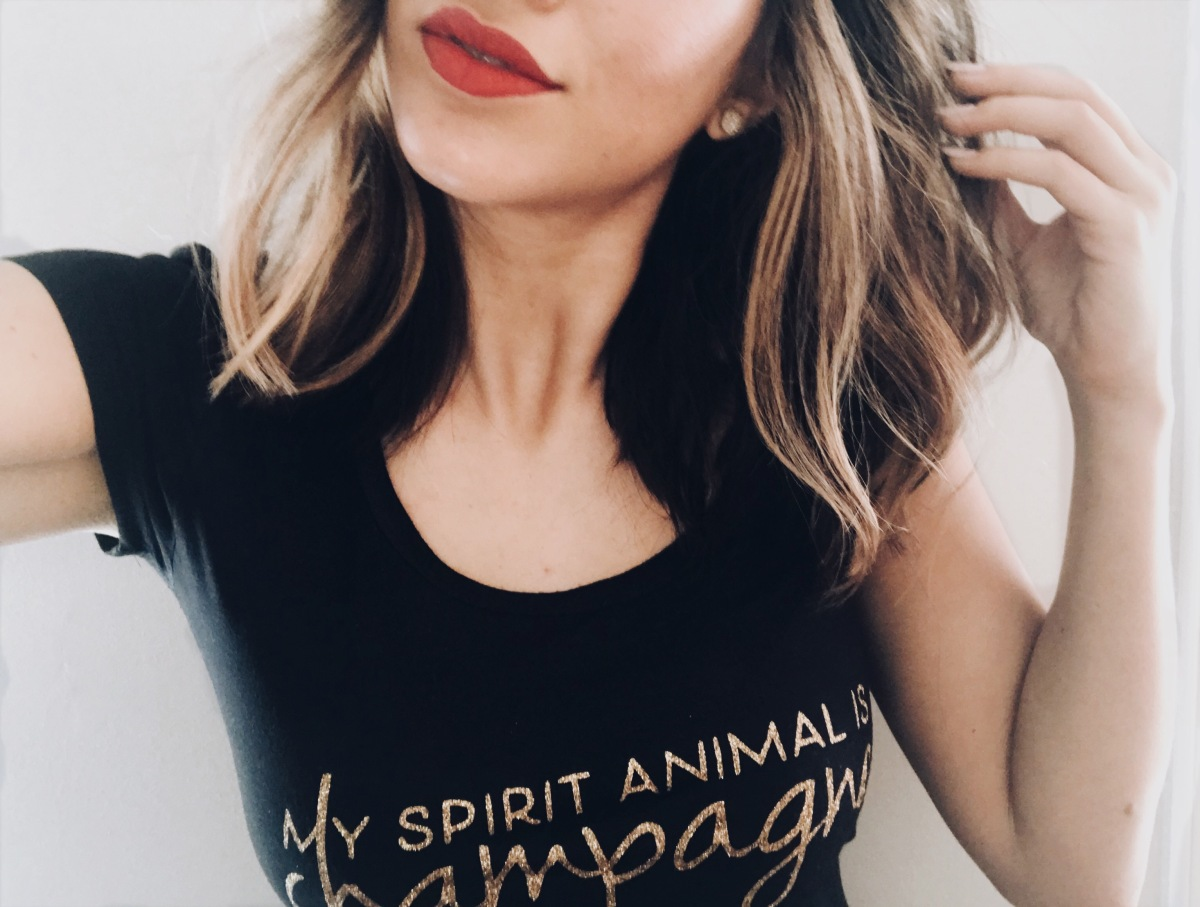 spirit animal-champagne-champs-tee-graphic-red lips-redken hair